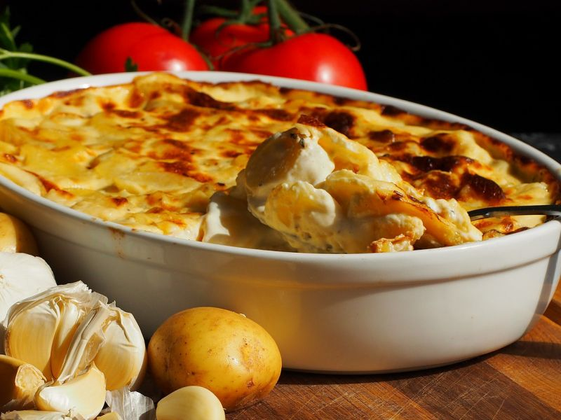 Gratin chou rave, courgette, lardons, deux fromages
